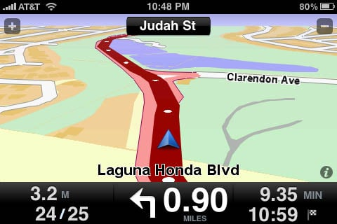 TomTom app for iPhone - 3D landscape