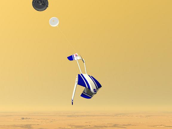 Concept of the ARES droid-plane unfurling in the skies above Mars. Credit: NASA Langley