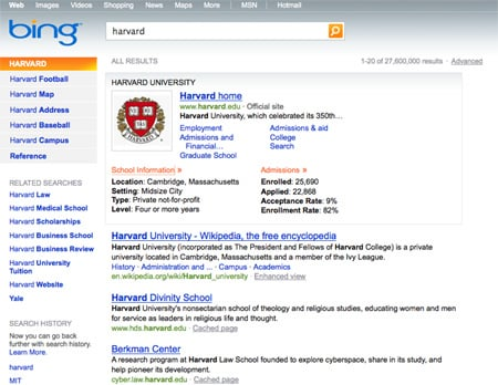Bing's Harvard search results