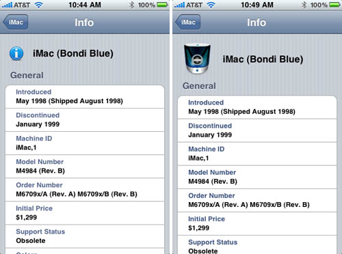 Mactracker iPhone app - Bondi Blue iMac