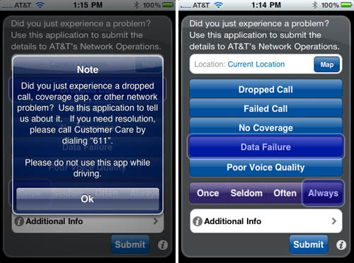 AT&T's service-quality iPhone app, Mark the Spot