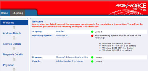 Parcelforce shuns Windows 7 users