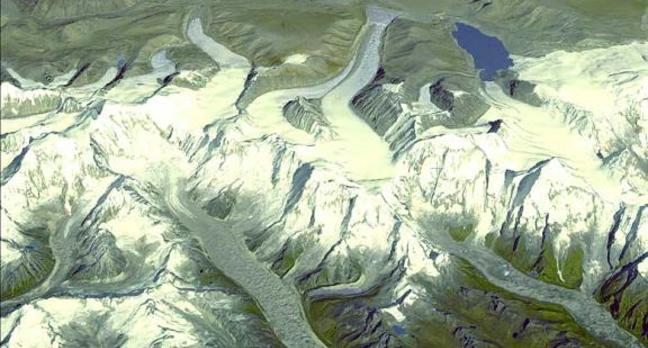 Himalayan glaciers feed many of the great rivers of southern Asia. Credit: NASA