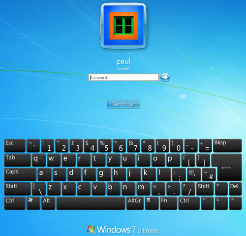 130fc467e6e Acer T230H. Windows 7's touch Qwerty keyboard login screen