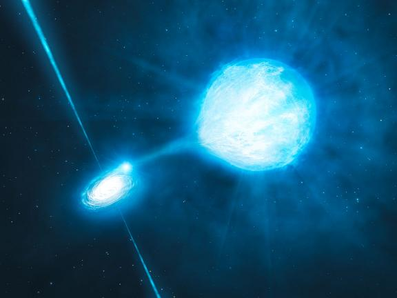 Artist's impression of the X-1 black hole / Wolf-Rayet binary in NGC 300. Credit: ESO