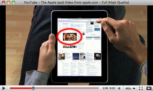 Apple iPad promotional video - showing Flash support