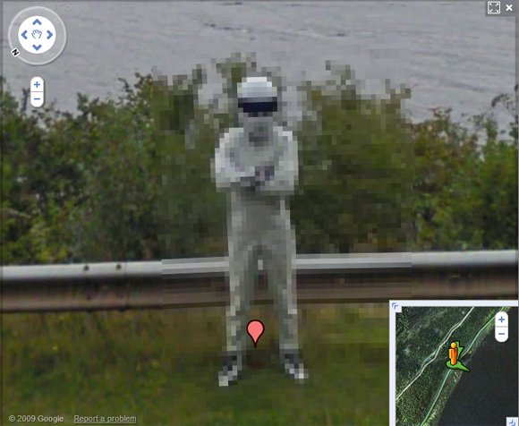 The Loch Ness Stig pixellated on Street View