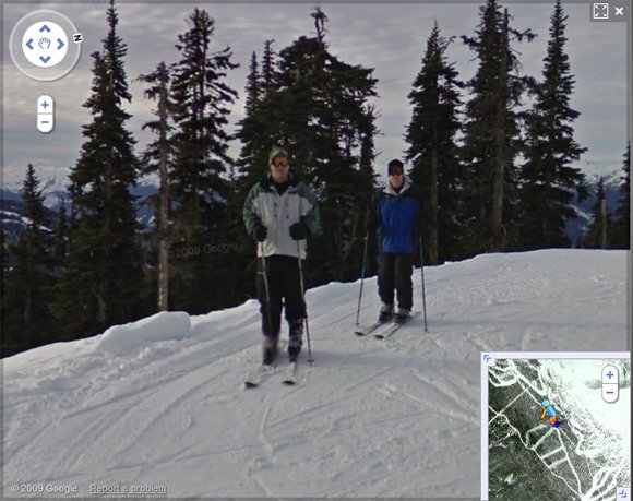 Two skiers caught on Street View