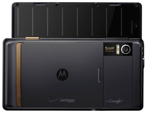 Motorola Droid - back view with open keyboard