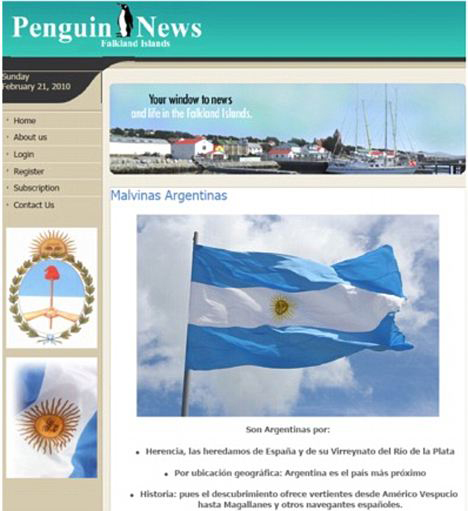 The hacked Penguin News website