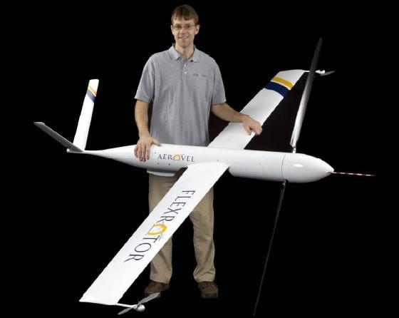 Tad McGeer with his Flexrotor. Credit: Aerovel