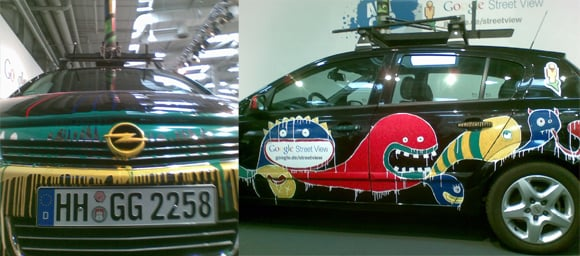 Close-up views of the Street View spymobiles