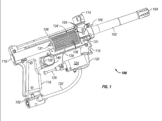 The patented fuel/air paintball gun. Credit: USPTO