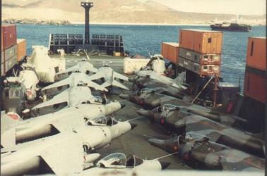 A merchant ship making creative use of containers in the Falklands War. Credit: CPO Bob Gellett