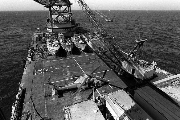 The oil-platform service barge Hercules serving as a base for US special operations forces.