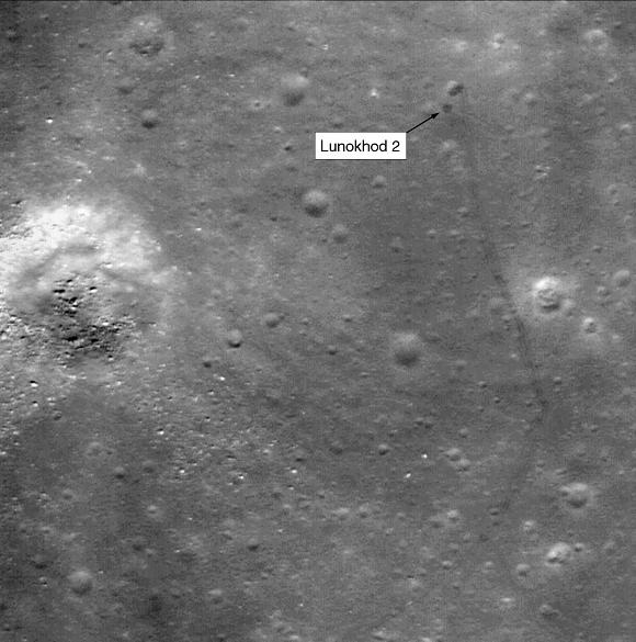 NASA LRO imagery showing tracks and final resting place of Lunokhod-2