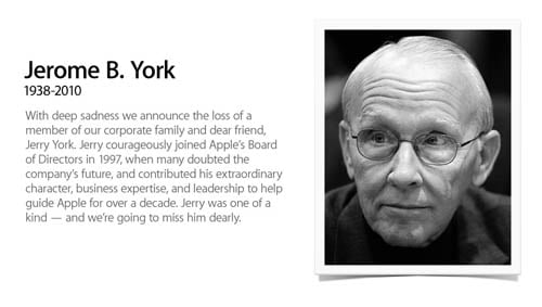 Apple's home page on March 18, noting the death of Jerry York