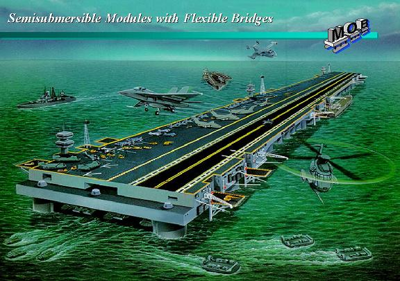 Concept for floating offshore base assembled from semi-submersible oilrig style independent units.