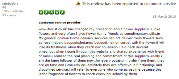 Positive review for iFlorist