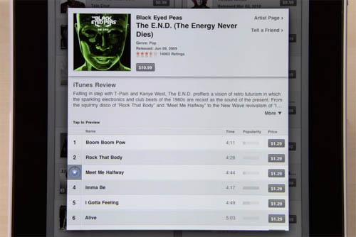 iPad iTunes app