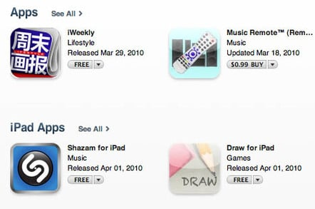 iPad apps on Apple's iTunes Store