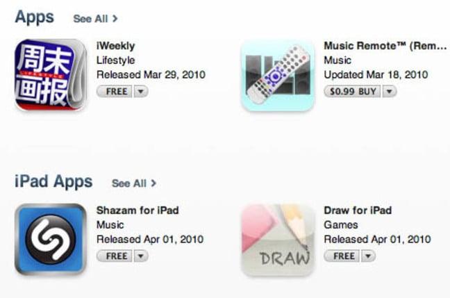 iPad apps on Apple's iTunes Store