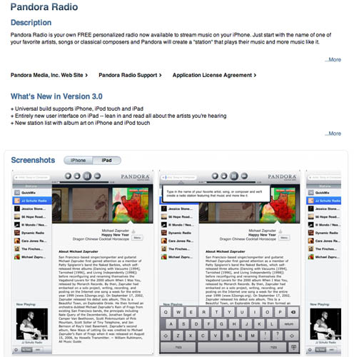 Pandora Radio's iPad version