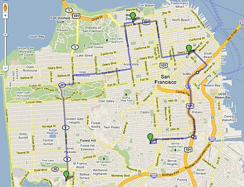 The three Apple stores in San Francisco, and the route between them