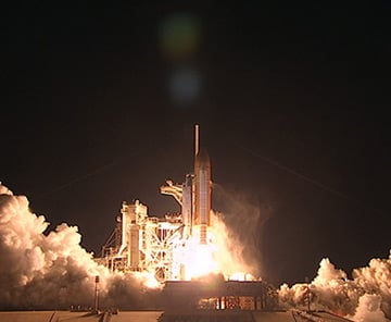 Discovery launches from Kennedy Space Center. Pic: NASA TV