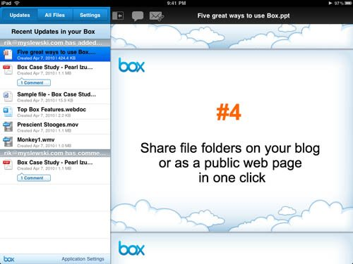 Box iPad app