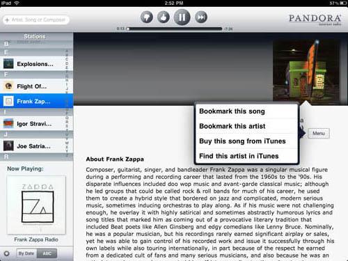 Pandora Radio iPad app