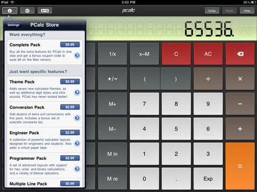 pCalc iPad app