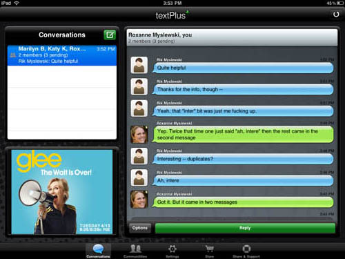 textPlus iPad app