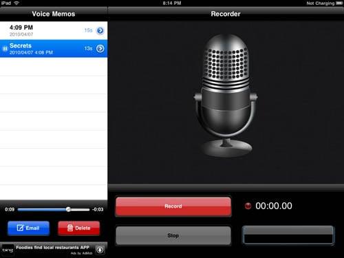 Voice Memo iPad app