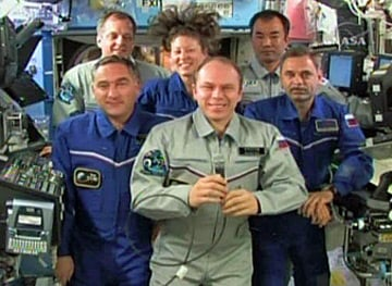 The Expedition 23 crew during yesterday's chat with Dmitry Medvedev. Pic: NASA TV