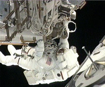 Rick Mastracchio during the third spacewalk. Pic: NASA TV