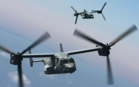US Marine Corps V-22 Ospreys flying in formation. Credit: USMC