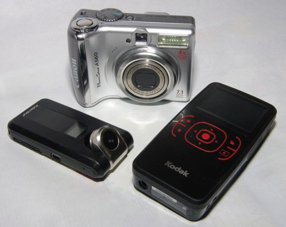 The Kodak Zx1, Canon PowerShot A560 and FlyCamOne