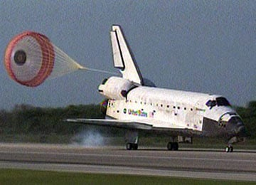Discovery touches down at Kennedy. Pic: NASA TV