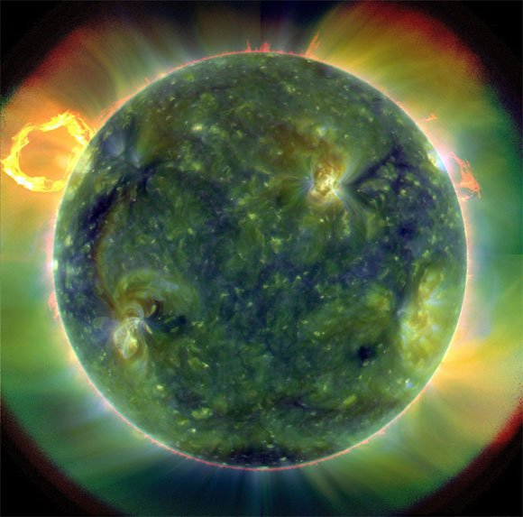 The SDO's full-disk multiwavelength extreme ultraviolet image of the sun. Pic: NASA