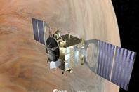 Graphic depicting Venus Express in orbit about the second planet. Credit: ESA