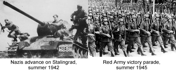 Red Army and Nazi troops