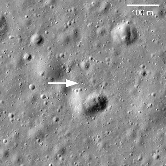 The Lunokhod 1 rover seen from above in 2010. Credit: NASA/LROC