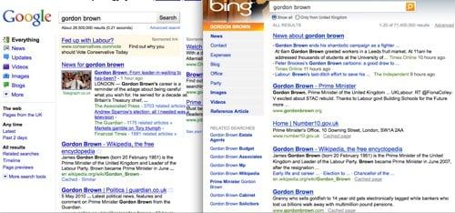 Google search goes Bing-like