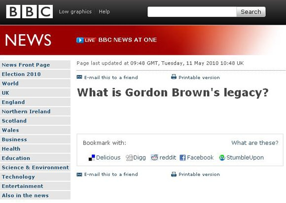 Empty news story on Gordon Brown's legacy
