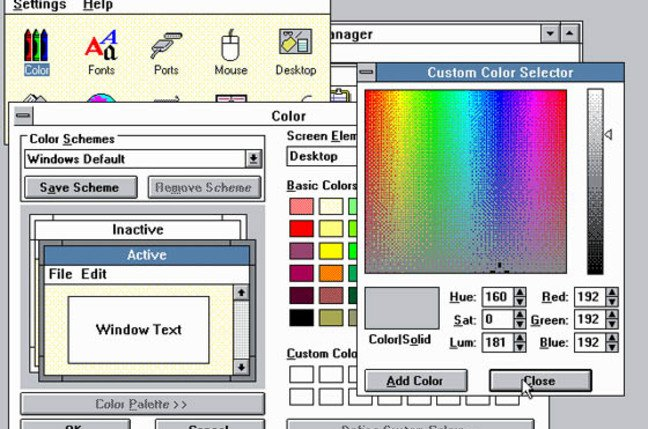 Windows 3.0 Color Control Panel