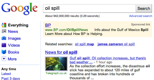BP buys oil spill keywords