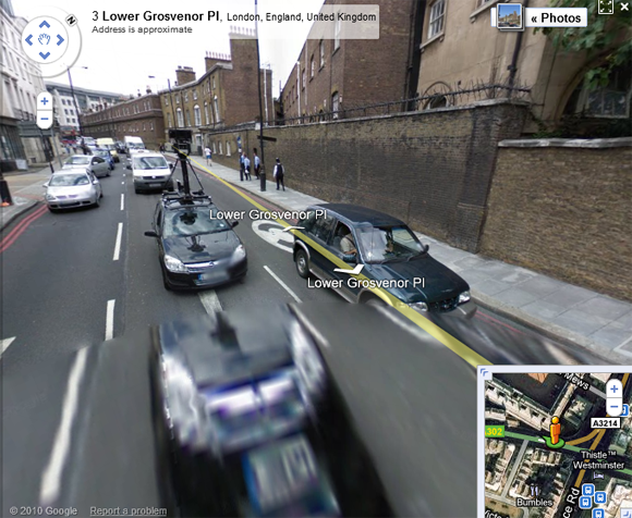 Black Opel seen jumping to light speed on Street view
