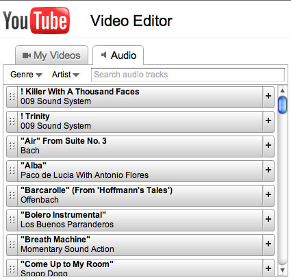 YouTube Video Editor tunes list