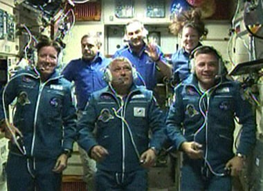 The Expedition 24 crew aboard the ISS. Pic: NASA TV